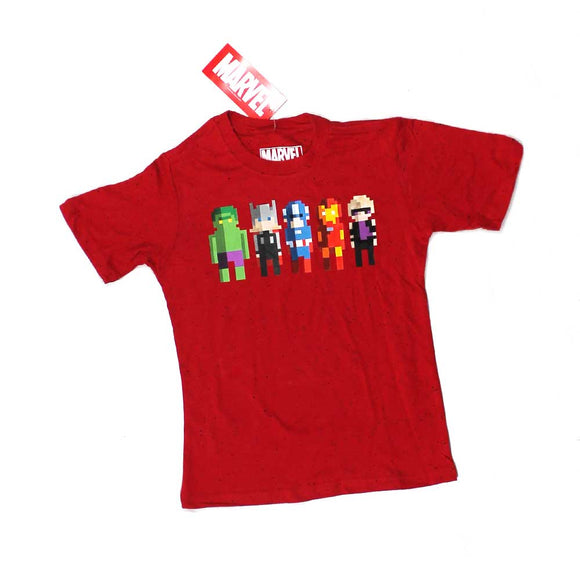 Marvel Avengers Pixels Youth Boys' Super Heroes Red Graphic Tee T-Shirt