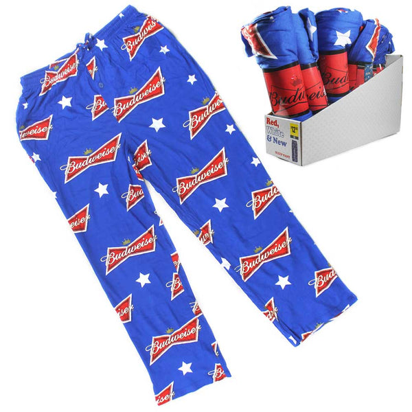 Budweiser Bud Beer red white and blue usa mens pajamas pants