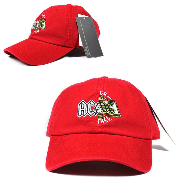 ACDC AC DC Logo Rock Band Dad Hat Cap Red Adult Licensed