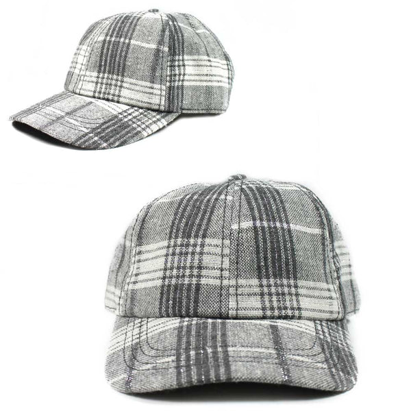 Plaid Hat Grey White Fashion Hat Cap Unisex Adult Size