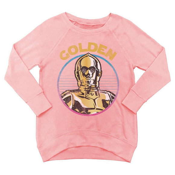 Little Girls Star Wars Long Sleeve Sweatshirt Sweater C3PO Golden Foil Pink Coral