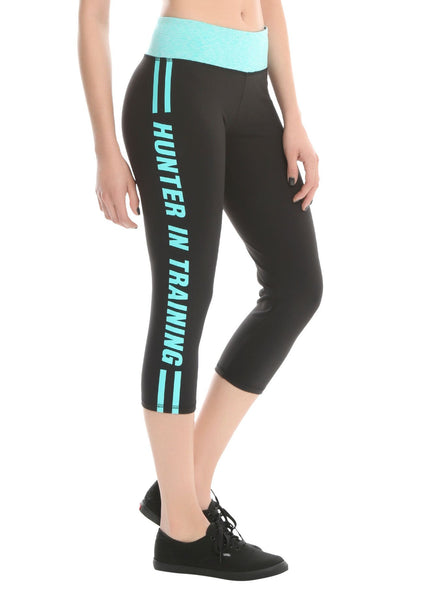 Womens Juniors Supernatural Black & Teal Hunter In Training Active Capri Yoga Pants