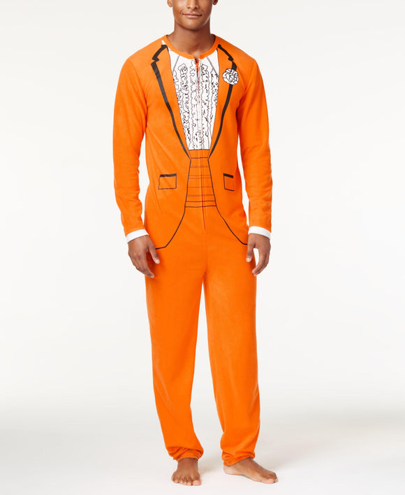 Mens American Rag Orange Prom Tuxedo Costume One-Piece Union Suite Pajama
