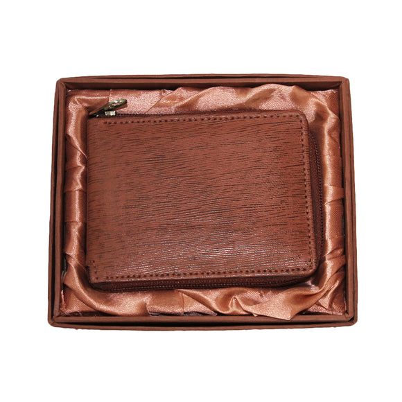 CB 349-BR Men's Genuine Cow Nappa Leather Brown Zip Wallet