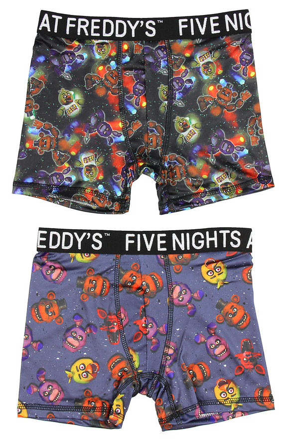 Boy's Five Nights At Freddys Dark Action Freddy, Foxy, Bonnie, and Chica Boys Boxer Briefs 2 Pack