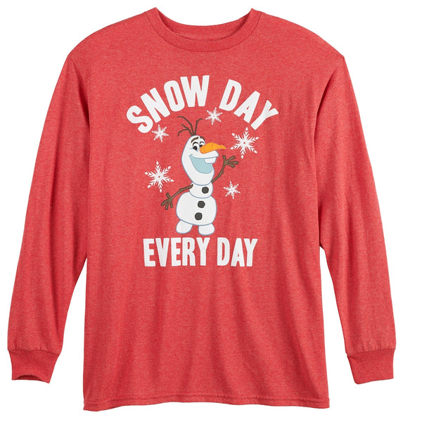 Boys Youth Disney's Frozen Olaf Snow Day Long Sleeve Tee T-Shirt