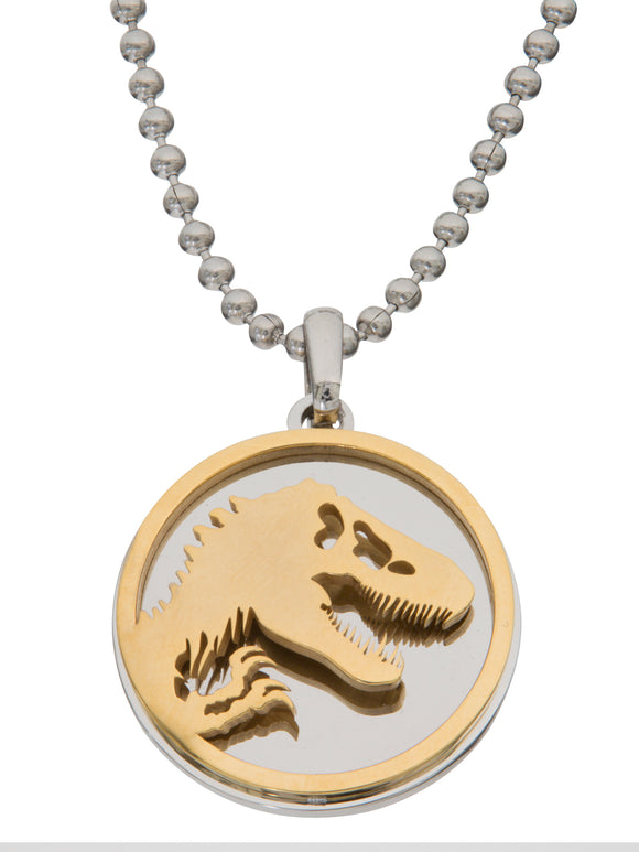 Jurassic World Men's Two Tone Stainless Steel Logo Pendant, 22