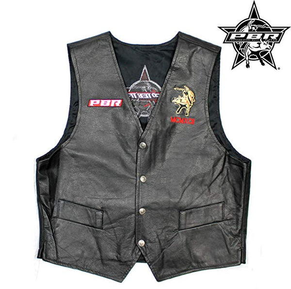 404S - PBR Professional Pro Bull Riders Officially Licensed Leather Vest Snap Buttons