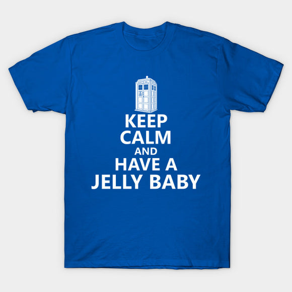 Mens Dr Who Keep Calm Have A Jelly Baby Blue Tee T-Shirt