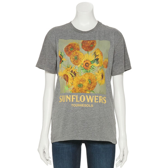 Women's Juniors Gray Sunflower Graphic Tee T-Shirt
