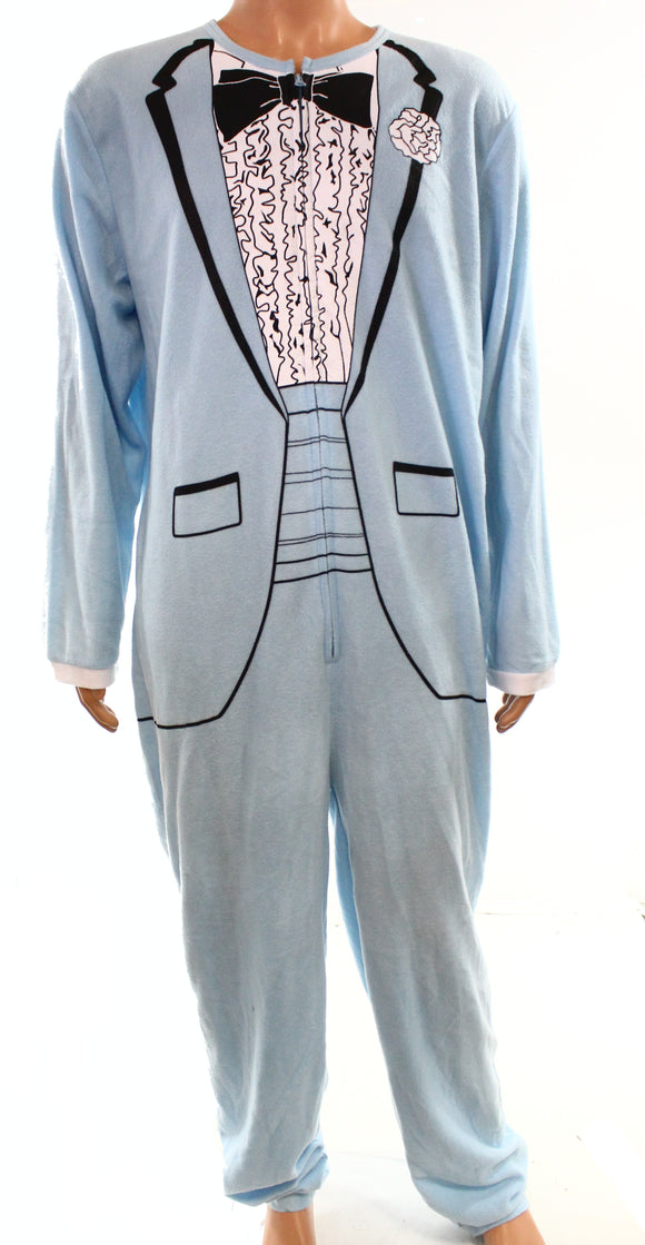 Mens American Rag Blue Prom Tuxedo Costume One-Piece Union Suite Pajama