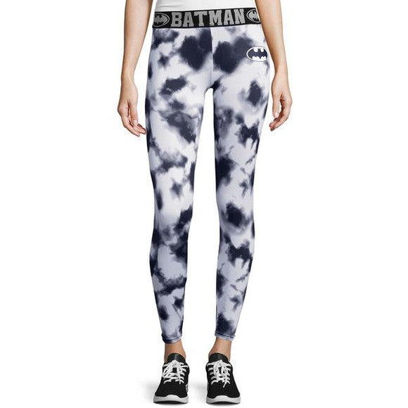 Womens Juniors White & Black Tie Dye Batman DC Comics Performance Joggers