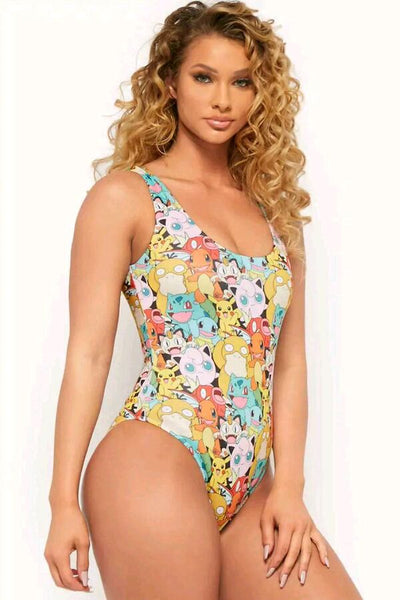 Womens Pokemon Graphic Bodysuit One Piece Swimsuit