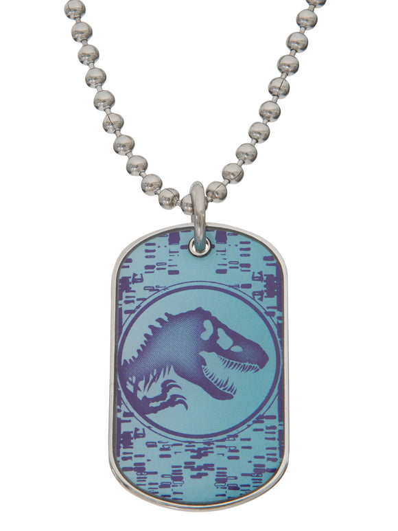 Jurassic World Boys Stainless Steel Dog Tag Pendant, 20