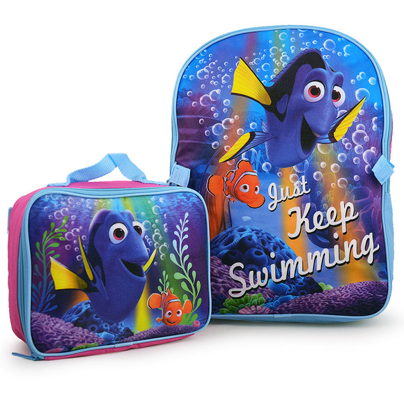 Pixar Finding Dory Just Keep Swimming Backpack and Lunch Bag Set