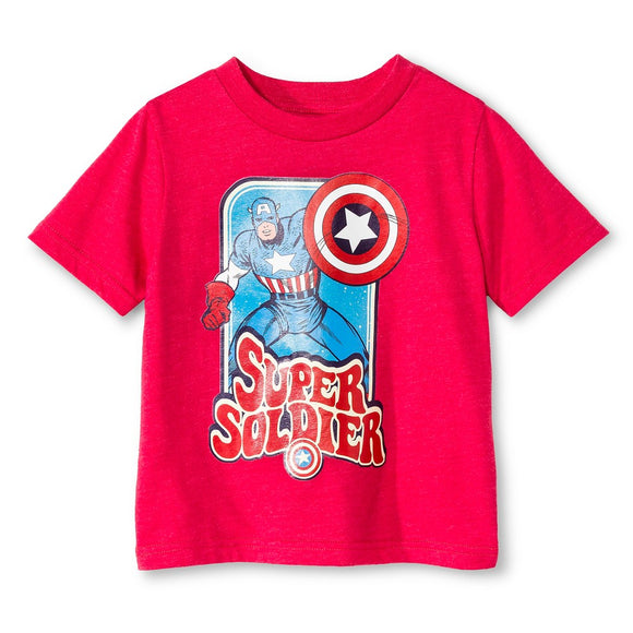 Boys Red Heather Captain America Super Soldier Tee T-Shirt