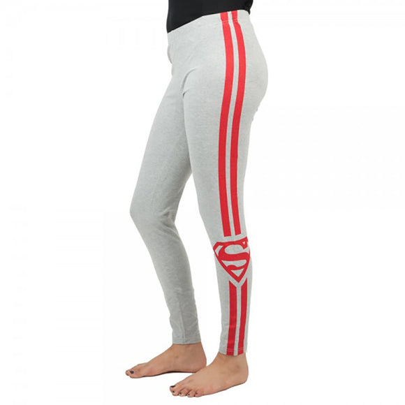 Womens Juniors Grey Super Girl Superman Racer Stripe Active Fitness Pants DC Comics