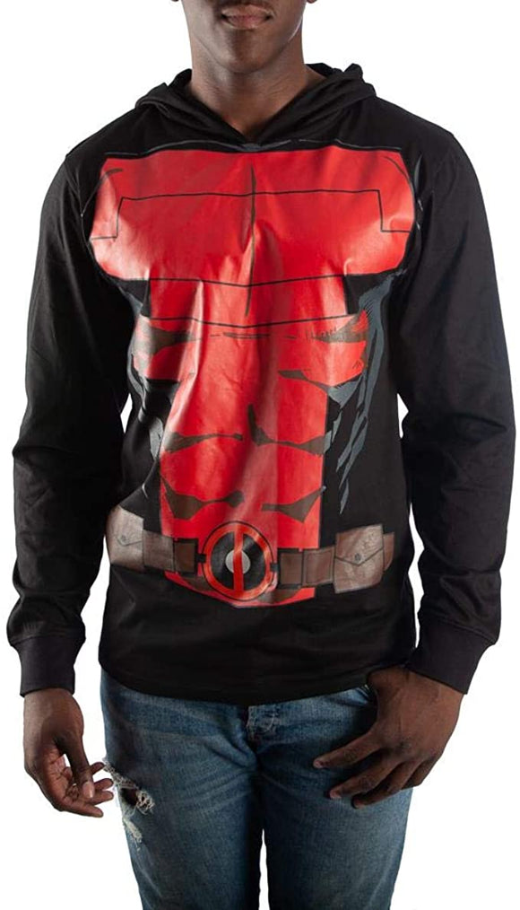 Men's Marvel Deadpool Hoodie Cosplay Lightweight Pullover Sweatshirt