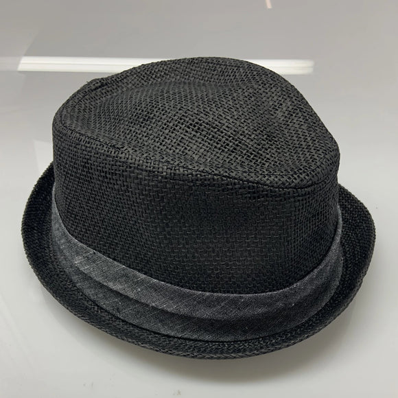Adults Black Grey Short Brim Fedora Hat