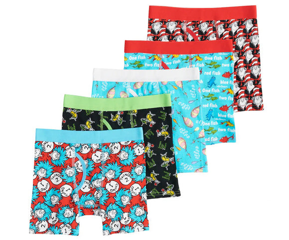 Dr. Seuss Boys' 5 Pack Cat in The Hat Thing 1 2 Red Fish Blue Fish Underwear Boxer Briefs