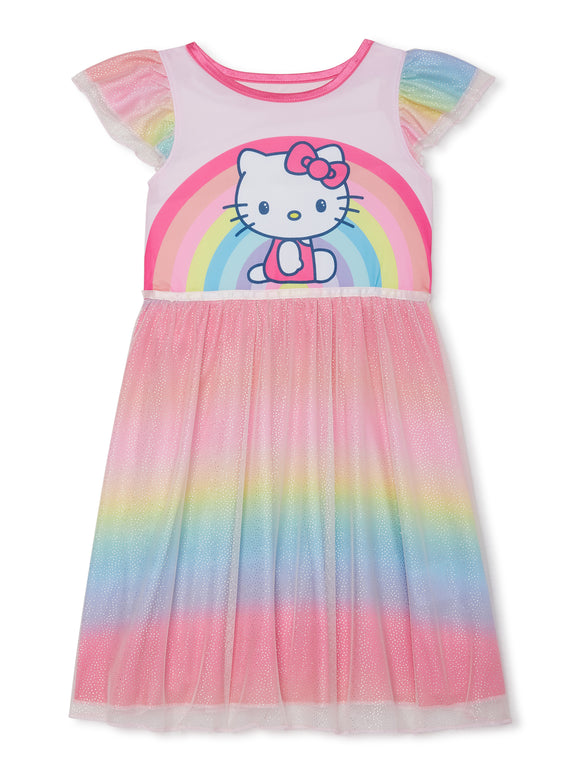 Hello Kitty Toddler Girl Flutter Sleeve Fantasy Nightgown Pajamas
