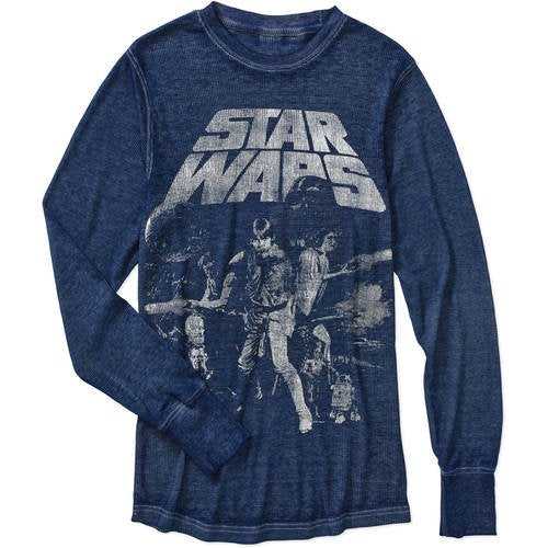 Mens Star Wars: A New Hope Poster Navy Heather Burnout Sweater Pullover