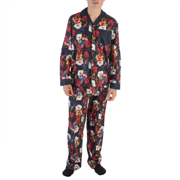 Mens Marvel The Avengers Captain America Spider man Hawaiian Floral Pajama Set