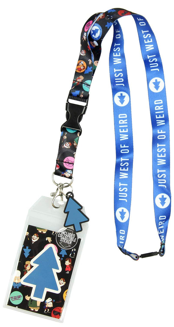 Disney Gravity Falls Lanyard Just West of Weird Keychain ID Holder with Tree Rubber Charm and Collectible Sticker