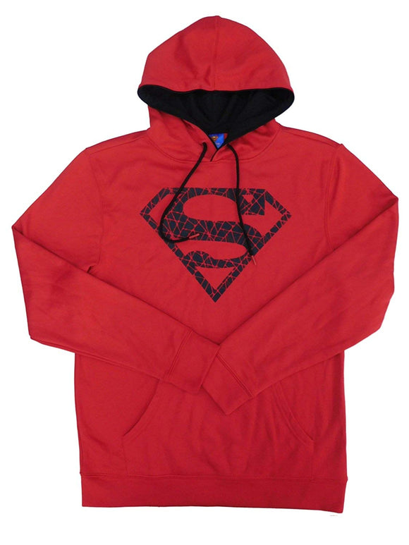 Mens Red DC Comics Superman Poly Fleece Pullover Hoodie Sweatshirt