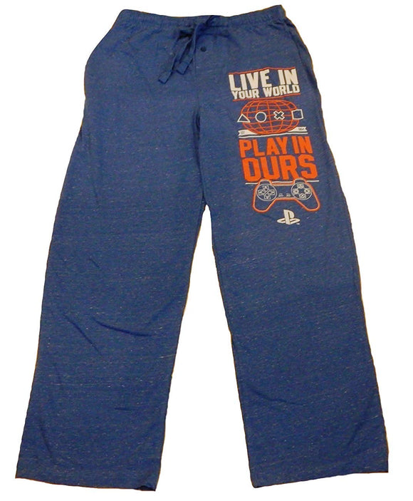Mens Blue PlayStation Live in Your World Gamer Lounge Pants Pajama Bottoms Sleep Pants
