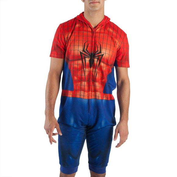 Mens Marvel Spider-Man Cropped Union Suit Onesie with Hood