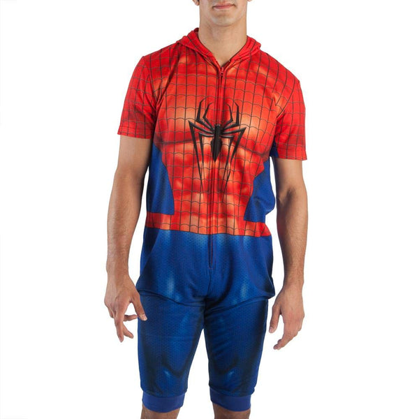 Mens Marvel Spider Man Cropped Union Suit Onesie with Hood