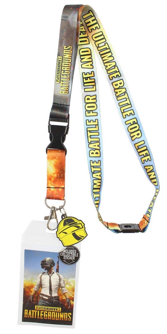 Playerunknown's Battleground PUBG Lanyard with ID Holder, Rubber Charm, and Collectible Sticker