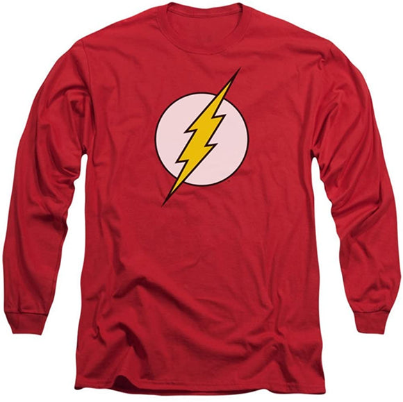 Mens DC Comics Flash Logo Licensed Long Sleeve T-Shirt Tee