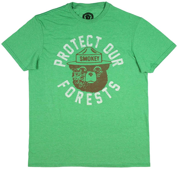 Mens Green Heather Faded Smokey The Bear Protect Our Forests Graphic Tee T-Shirt