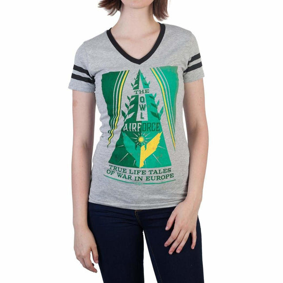 Womens Juniors Fantastic Beasts and Where to Find Them Owl Force V-Neck T-Shirt
