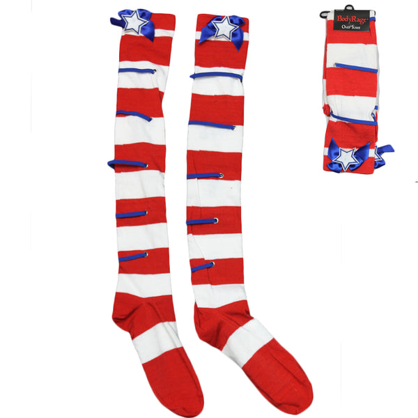 Women's Red & White Stripe Over Thigh Socks with Lace Cosplay Costume