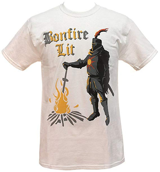 Mens White Dark Souls Solaire Bonfire Lit Licensed Graphic Tee T shirt