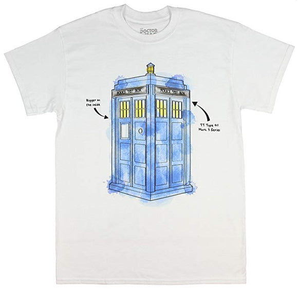 Mens White BBC Doctor Who Time Traveling TARDIS Watercolour Men's T-shirt Tee T Shirt