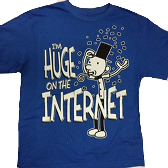 Youth Boys Blue Diary of a Wimpy Kid Im Huge of the Internet Tee T-Shirt