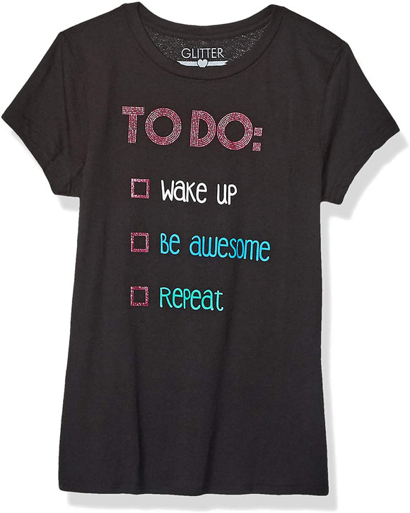 Girls' Little Pink Glitter Cute Funny Be Awesome to Do List Black T-Shirt Tee