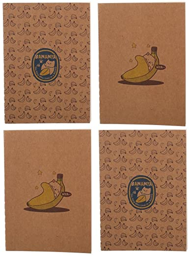 Bananya The Kitty Who Lives In A Banana Set of 4 Pocket Field Note Journals 5.5