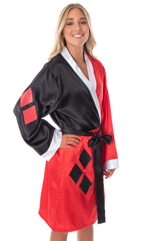 Harley Quinn Costume Silky Satin Robe Cover-Up