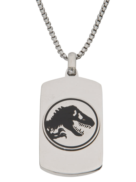 Jurassic World Men's Stainless Steel Logo Dog Tag Pendant, 22
