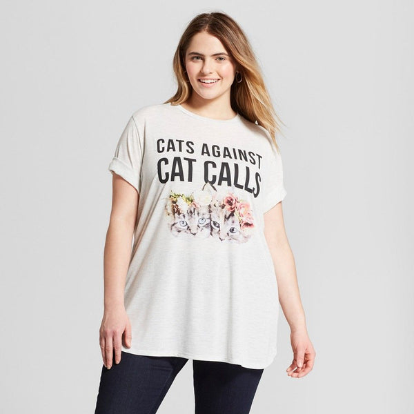 Women's Plus Size Cats Against Cat Calls Short Sleeve Graphic Tee T-Shirt