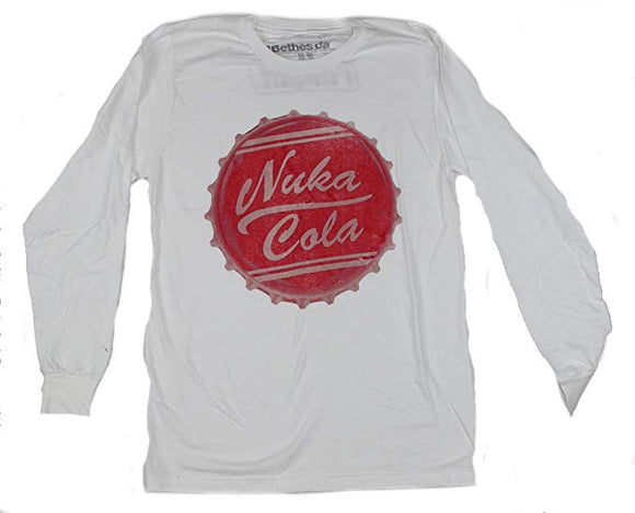 Mens White Nuka Cola Bottle-cap Tee T-Shirt