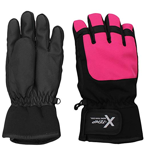 Hanes Girls Winter Snow Ski Gloves Waterproof Fleece Lined Thinsulate Grippers