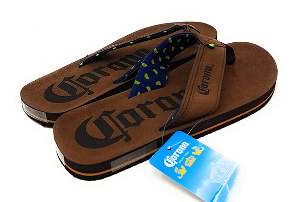 Mens Brown Corona Beer Thong Sandals