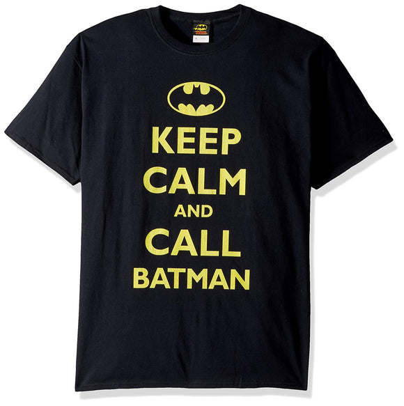 Mens DC Comics Keep Calm and Call Batman Black Tee T Shirt
