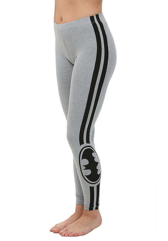 Womens Juniors Grey Batman Racer Stripe Active Fitness Pants DC Comics